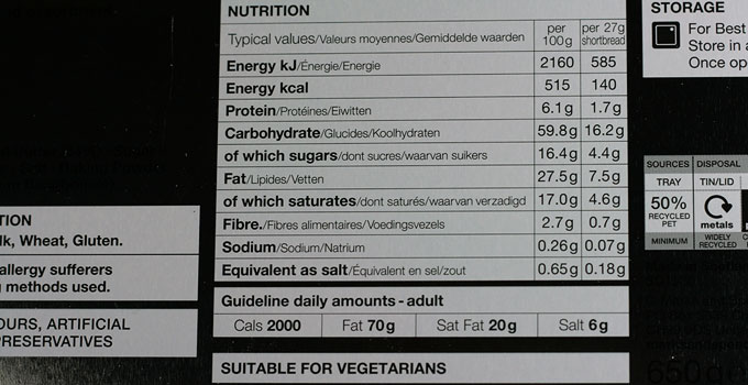Marks and Spencer Scottish Shortbread nutrition information
