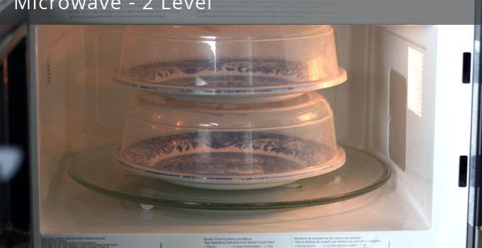 Two-level microwave oven cooking