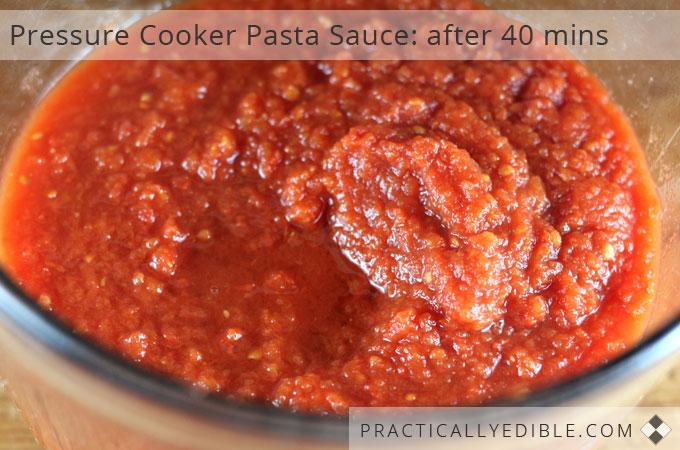 Pressure Cooker Pasta Sauce after 40 mins